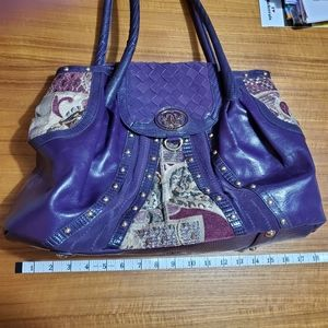 Purple Leather Shoulder bag w/ wristlet & dustbag